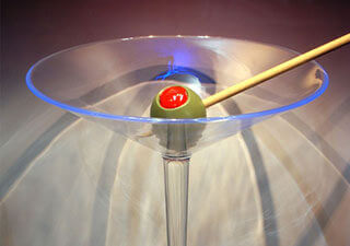 32 inch Diameter Martini Glass and Olive